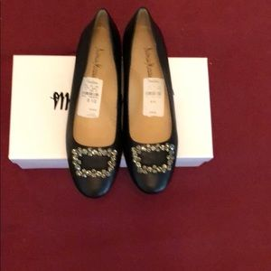 Neiman Marcus New Black Embezzled Leather Flats